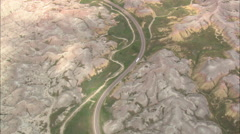 AERIAL United States-Route 240 Through West Side Of Badlands Stock Footage