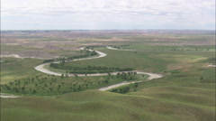 AERIAL United States-White River In Pine Ridge Reservation Stock Footage