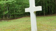 3901 White Stone Cross in Forest Next to Tombstone, 4K Stock Footage