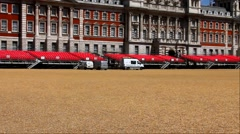 Preparation for royal horse parades on Square of royal horse parades. London, UK Stock Footage