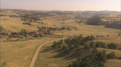 AERIAL United States-Cheyyenne To Deadwood Stage Route Stock Footage