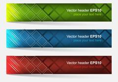 Web header, set of vector banner Stock Illustration
