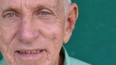 25 White People Portrait Happy Senior Man Smiling At Camera - stock footage