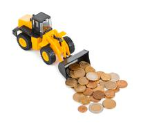 Toy loader and money coins Stock Photos