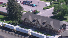 AERIAL United States-Whitefish Railroad Station - stock footage