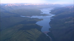 AERIAL United States-Hungry Horse Dam At Sunset Stock Footage