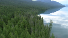 AERIAL United States-Flight With At Reflections In Lake Mcdonald Stock Footage