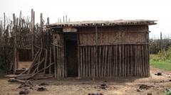 Samburu tribe manyata mud house, Kenya, Africa Stock Footage