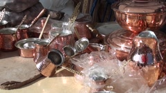 Handmade copper homeware on sale at the market 2 Stock Footage