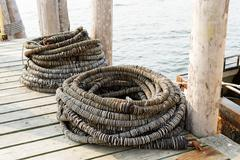 Commercial fishing boat equipment. Stock Photos