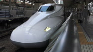 Stock Video Footage of N700 Series Shinkansen Bullet Train Close Up At Train Station
