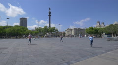Beautiful afternoon at the Columbus Monument in Barcelona Stock Footage