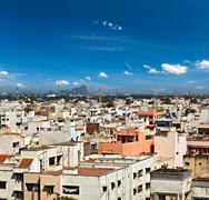 Typical South Indian city Madurai, Tamil Nadu, India - stock photo