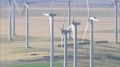 AERIAL United States-Wind Turbines Near Harlowton Stock Footage