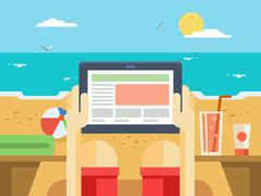 Digital tablet on beach Stock Illustration