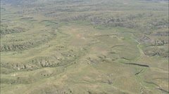 AERIAL United States-Crossing Grassland And Small Lakes Stock Footage