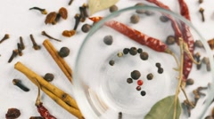A set of spices, spices in a glass dish Stock Footage