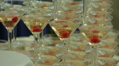 Pyramid of champagne close-up Stock Footage