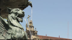 O Porto University Square Fountain Detail and Church Cross Background Stock Footage
