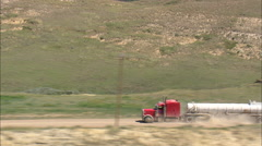 AERIAL United States-Tanker Truck On Dirt Road Stock Footage