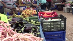 Selection of fresh fruits and vegetables at the market 2 - stock footage