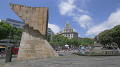 Plaza de Catalunya with monuments and buildings in Barcelona Stock Footage