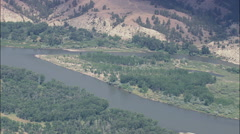 AERIAL United States-Yellowstone River Near Custer Stock Footage