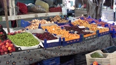 Selection of fresh fruits and vegetables at the market 3 Stock Footage