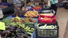 Selection of fresh fruits and vegetables at the market Stock Footage