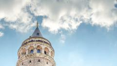 The Symbol Of Istanbul Galata Tower Time Lapse Stock Footage