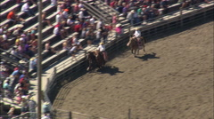 AERIAL United States-Unsuccessful Bronc Riding - stock footage
