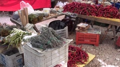 Spices herba and fresh red pepper for sale at the market Stock Footage
