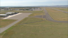AERIAL United States-Flight Landing At Bozeman Airport Stock Footage