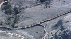 AERIAL United States-Mammoth Springs Walkways - stock footage