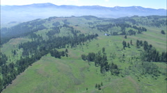 AERIAL United States-Flight Close To State Border In Yellowstone Park Stock Footage