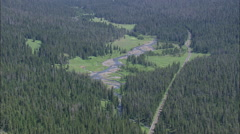 AERIAL United States-Soda Butte Valley And State Border With Montana - stock footage