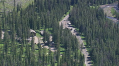 AERIAL United States-Northeast Entrance To Yellowstone Park Stock Footage