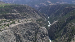AERIAL United States-Flight Down Towards Clarks Fork Yellowstone River Stock Footage