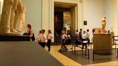 The British Museum. Unidentified tourists at one of the halls Stock Footage