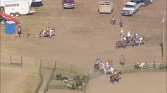 AERIAL United States-Getting Ready For The Rodeo At Lodge Grass - stock footage