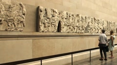 Stock Video Footage of Unidentified tourists near Parthenon (Elgin) marbles at The British Museum