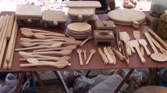 Wooden handiwork at sale at the market Stock Footage