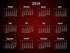 claret calendar for 2016 American variant - stock illustration