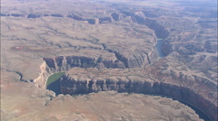 AERIAL United States-Flight And Tilt Down On Bend In Bighorn Canyon Stock Footage