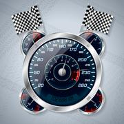 Speedometer with rev counter and race flags Stock Illustration