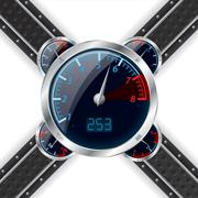 Analog rev counter with digital speedometer Stock Illustration