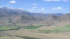 AERIAL United States-Rugged Landscape Either Side Of The North Fork Shoshone - stock footage