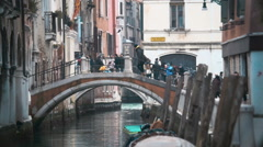 Venetian cityscape with bridge and old houses Stock Footage