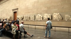 One of the halls of The British Museum. Parthenon (Elgin) marbles. Stock Footage