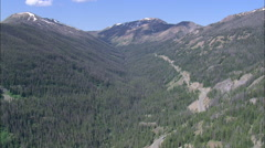 Stock Video Footage of AERIAL United States-Coach Approaching Sylvan Pass